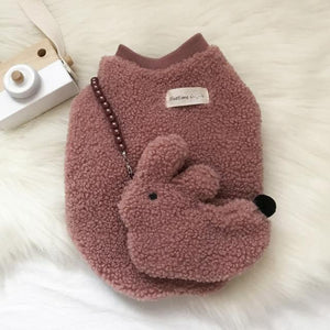 Frenchie World Shop Bean paste color / XS Frenchie Fuzzy Sweater With a Bunny Bag