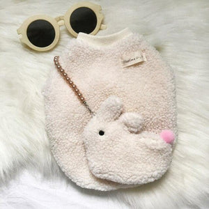 Frenchie World Shop Beige / S Frenchie Fuzzy Sweater With a Bunny Bag