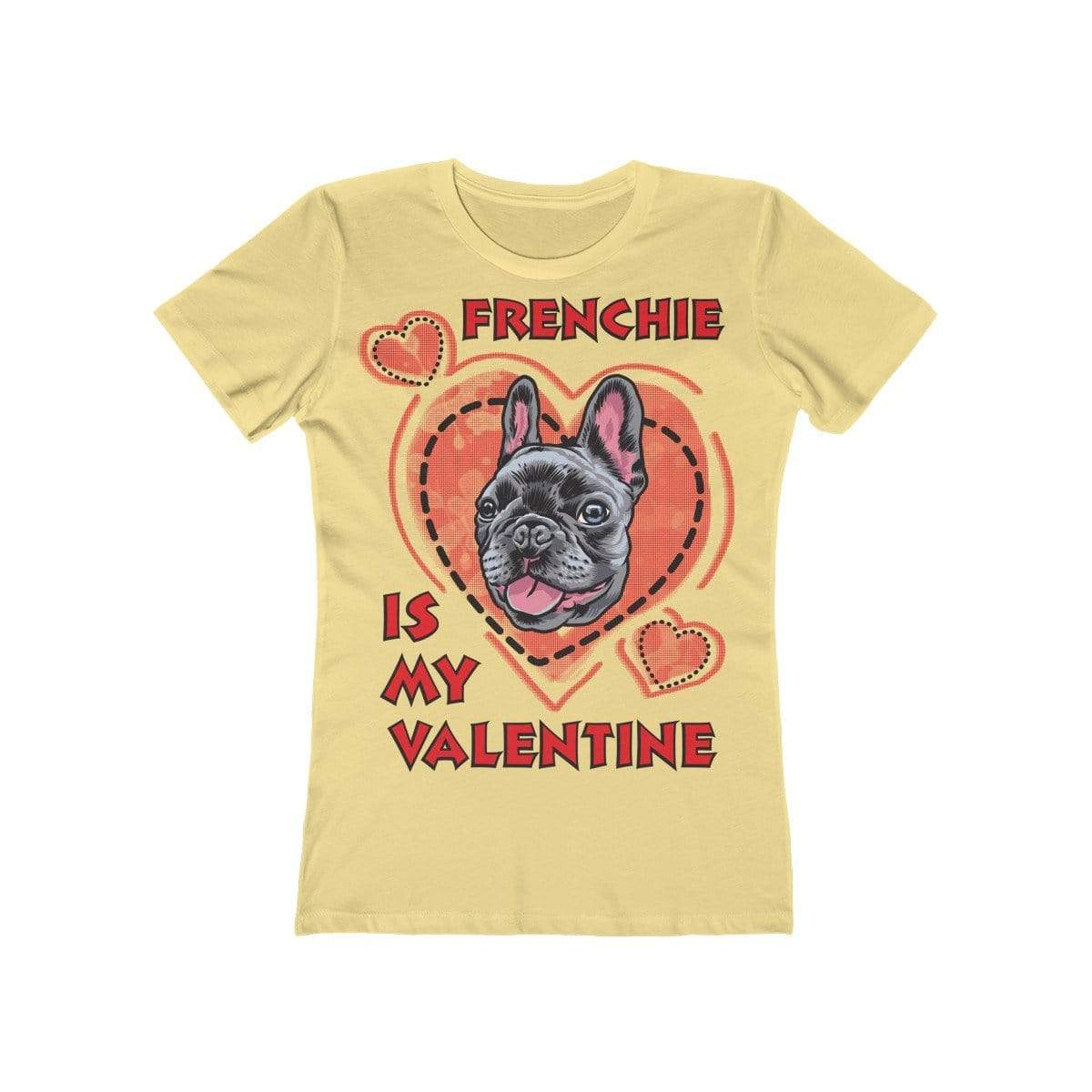 Printify T-Shirt Solid Banana Cream / L Frenchie Is My Valentine Women's Tee