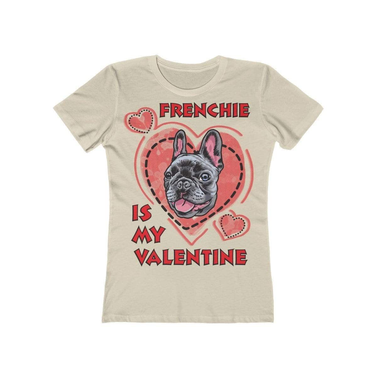 Printify T-Shirt Solid Cream / L Frenchie Is My Valentine Women's Tee