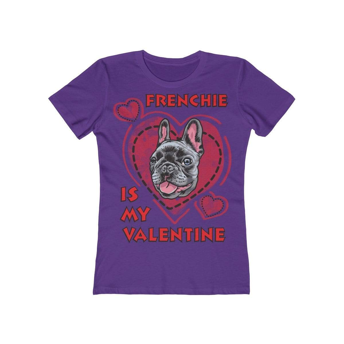 Printify T-Shirt Solid Purple Rush / L Frenchie Is My Valentine Women's Tee