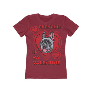 Printify T-Shirt Solid Scarlet / L Frenchie Is My Valentine Women's Tee