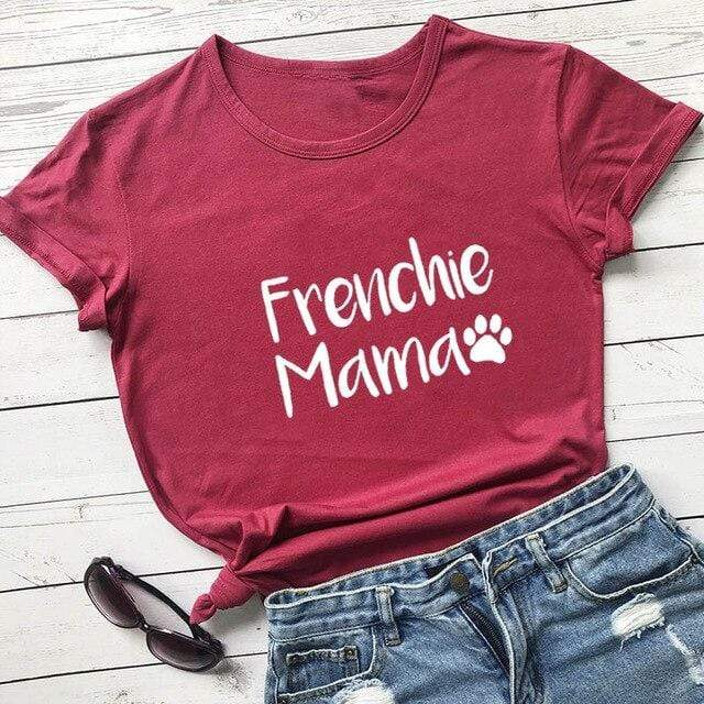 Frenchie World Shop burgundy-white text / XL / China Frenchie Mama Women's T-Shirt