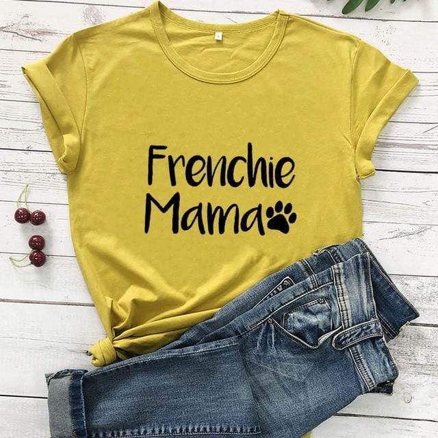 Frenchie World Shop mustard-black text / M / China Frenchie Mama Women's T-Shirt