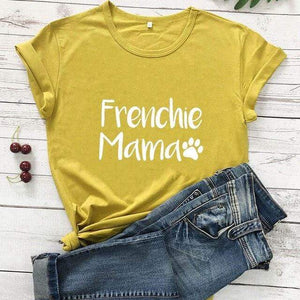 Frenchie World Shop mustard-white text / M / China Frenchie Mama Women's T-Shirt