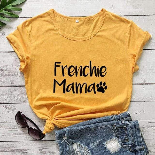 Frenchie World Shop yellow-black text / XXXL / China Frenchie Mama Women's T-Shirt