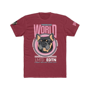 Printify T-Shirt Solid Cardinal/Scarlet / S Frenchie World Community Member Men's Cotton Crew Tee