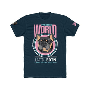 Printify T-Shirt Solid Midnight Navy / S Frenchie World Community Member Men's Cotton Crew Tee