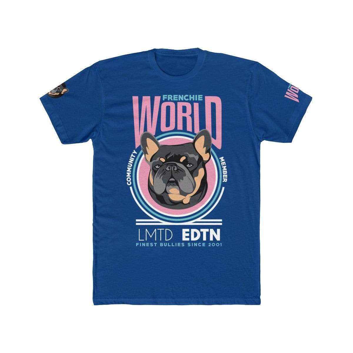 Printify T-Shirt Solid Royal / S Frenchie World Community Member Men's Cotton Crew Tee