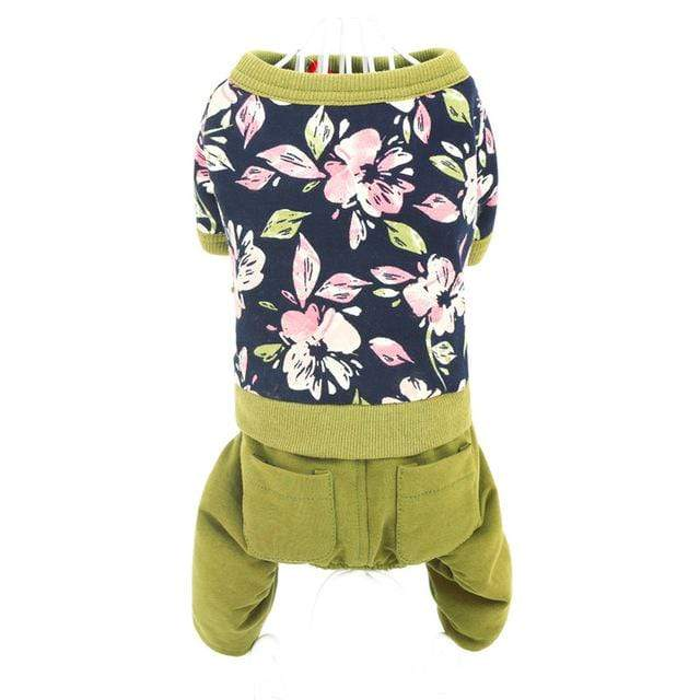 Frenchie World Shop Dog Clothing Green / XS Frenchie World® Flower printed jumpsuit
