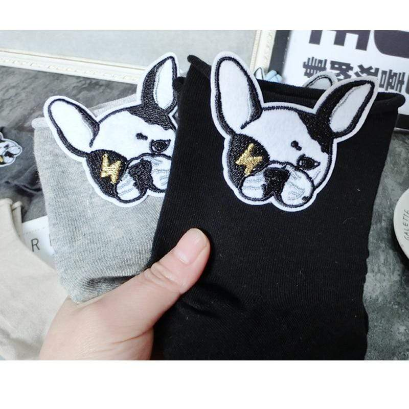Frenchie World Shop Funny Socks Embroidery Cute Bulldog Puppy Solid Color Cotton Short Socks