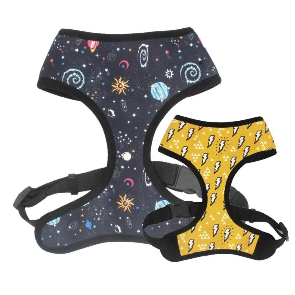 Frenchie World Shop sky / XS(Neck 26cm-28cm) Hamburger, Banana, Mermaid, Space Pig Reversible Harness