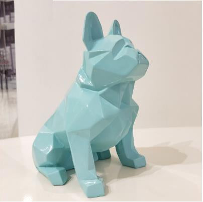 Frenchie World Shop Homeware Baby blue Handmade geometric French bulldog sculpture