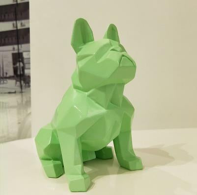 Frenchie World Shop Homeware Green Handmade geometric French bulldog sculpture
