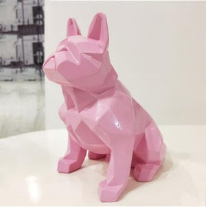 Frenchie World Shop Homeware Pink Handmade geometric French bulldog sculpture