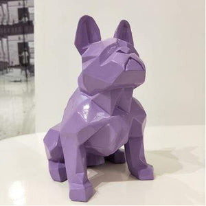 Frenchie World Shop Homeware Purple Handmade geometric French bulldog sculpture