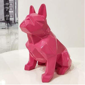 Frenchie World Shop Homeware Red Handmade geometric French bulldog sculpture