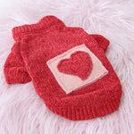 Frenchie World Shop Red / L Heart Winter French Bulldog Sweater