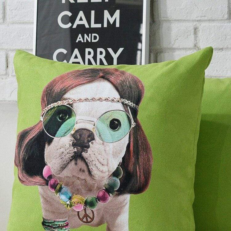 Frenchie World Shop Hippie French Bulldog Pillow Covers