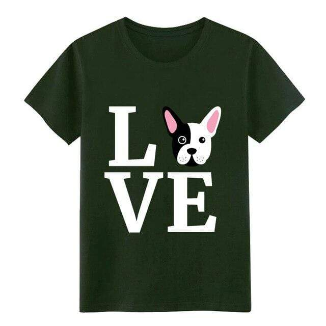 Frenchie World Shop Army Green / S I Love My French Bulldog t shirt