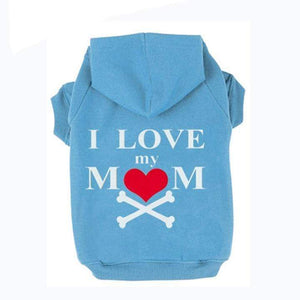 Frenchie World Shop Blue / XS I Love My Mom Dog Hoodie
