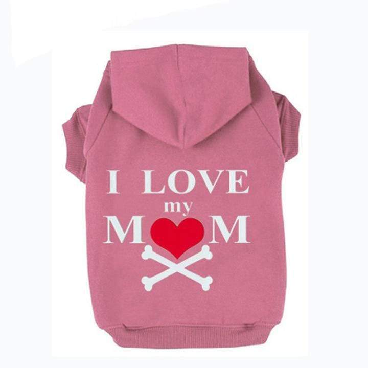 Frenchie World Shop Pink / XS I Love My Mom Dog Hoodie