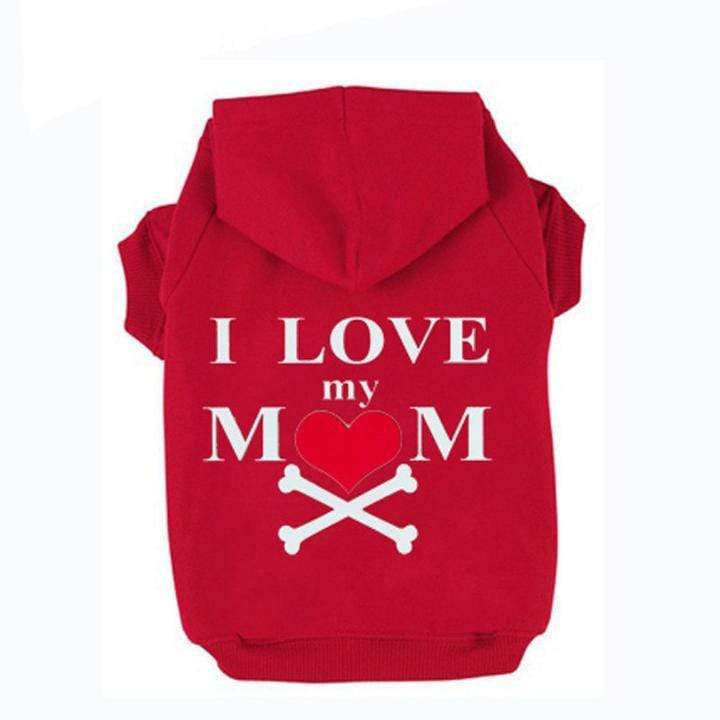 Frenchie World Shop Red / XS I Love My Mom Dog Hoodie