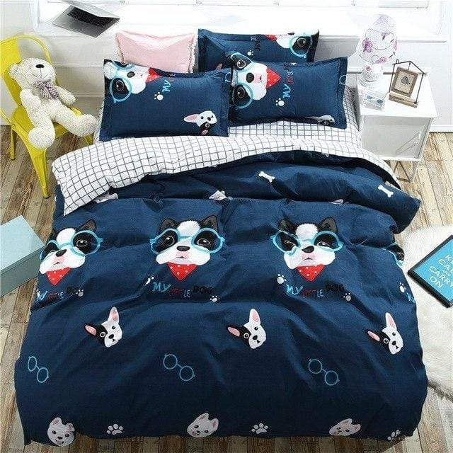 Frenchie World Shop Blue / Full / (Flat Bed Sheet) Kids French Bulldog Bedding Set