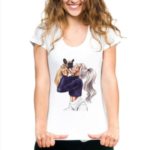 Frenchie World Shop Kissing Frenchie Women T-shirt