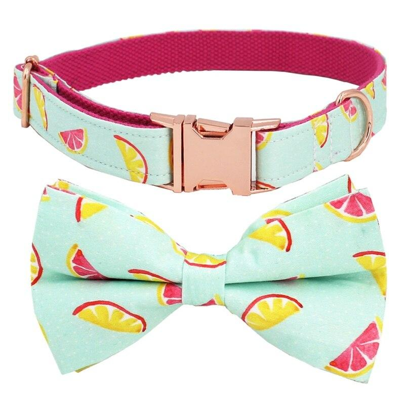 Frenchie World Shop lemon Dog Collar With Bow for Big Small Dogs Cone Pattern Soft Pet Padded Dogs Collar