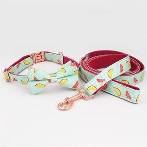 Frenchie World Shop collar leash bow / XS lemon Dog Collar With Bow for Big Small Dogs Cone Pattern Soft Pet Padded Dogs Collar