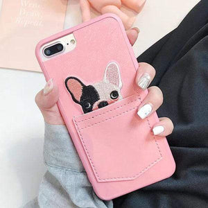 Lovely Pink Cartoon Bulldog Pocket Phone Cases For iPhone X 8 8 Plus 7 6 6S Plus Case Cute 3D Lace Dog Soft Silicon Back Cover