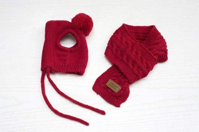 Frenchie World Shop Red / S Luxury Knittied French Bulldog Beanie and Scarf Set