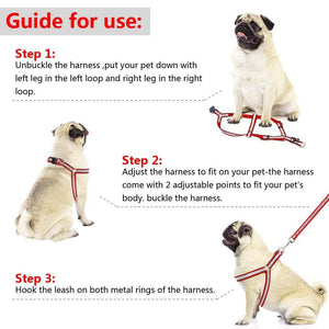 "Frenchie World Shop Dog Accessories ""NO PULL"" Reflective Dog Harness and Leash Set"