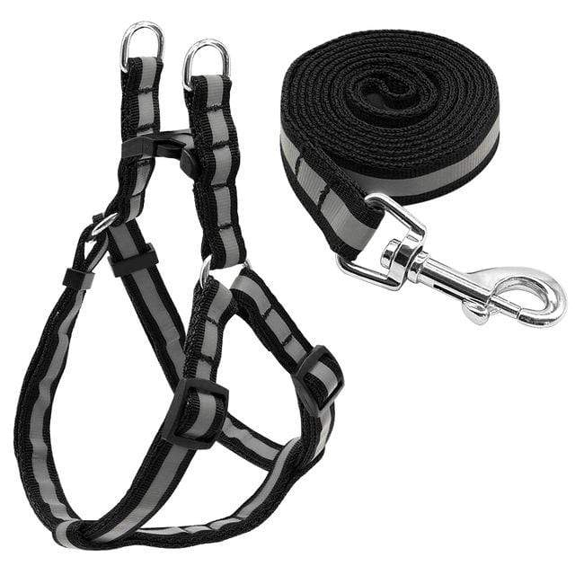 "Frenchie World Shop Dog Accessories Black / S ""NO PULL"" Reflective Dog Harness and Leash Set"