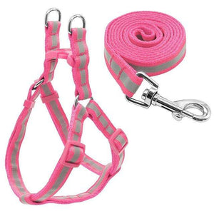 "Frenchie World Shop Dog Accessories Pink / S ""NO PULL"" Reflective Dog Harness and Leash Set"