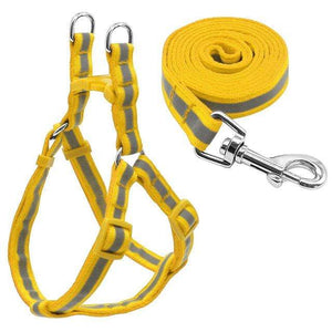 "Frenchie World Shop Dog Accessories Yellow / S ""NO PULL"" Reflective Dog Harness and Leash Set"