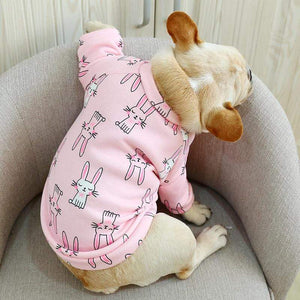 Frenchie World Shop O Neck Frech Bulldog Clothes Autumn Winter Dog Shirt Jacket For Small Animal Pet Pink Blue Indoor Pajamas Puppy Wear Accessories