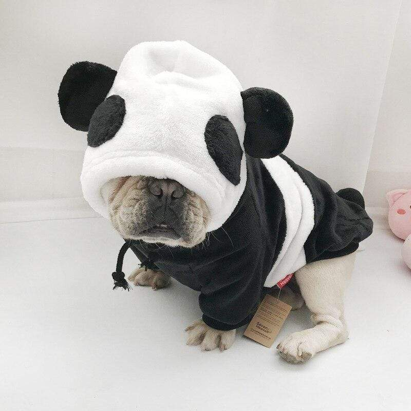 Frenchie World Shop Panda-shaped Double-sided Plush Designer Hoodie For Dogs French Bulldog Hoodie Clothes Pet Sweatshirt Dog Halloween Sweater Coat