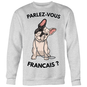 teelaunch T-shirt Crewneck Sweatshirt Big Print / Heather Grey / S Parlez-Vous Francais Unisex Crewneck
