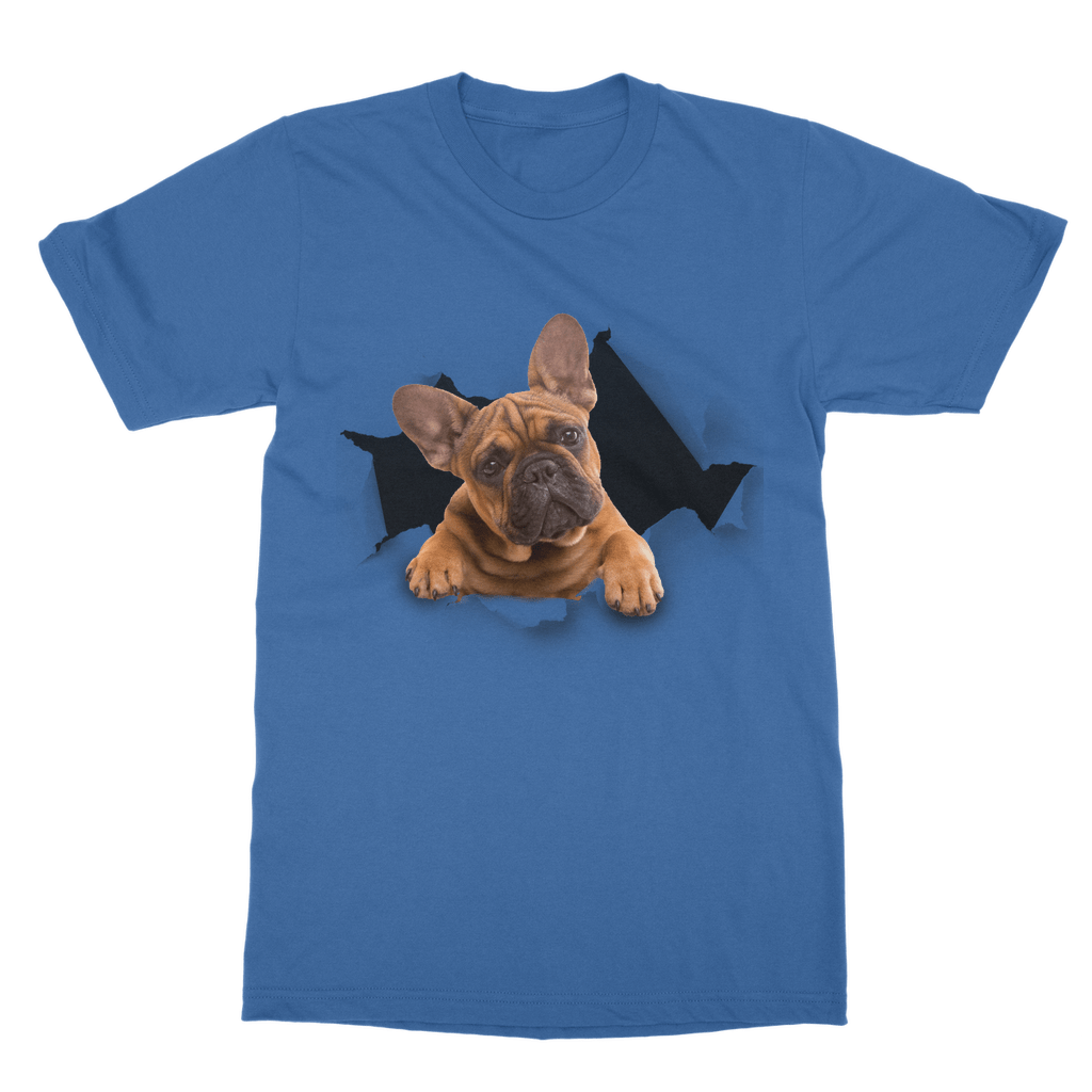alloverprint.it Apparel Royal Blue / Unisex / S Peeking Frenchie Classic Adult T-Shirt