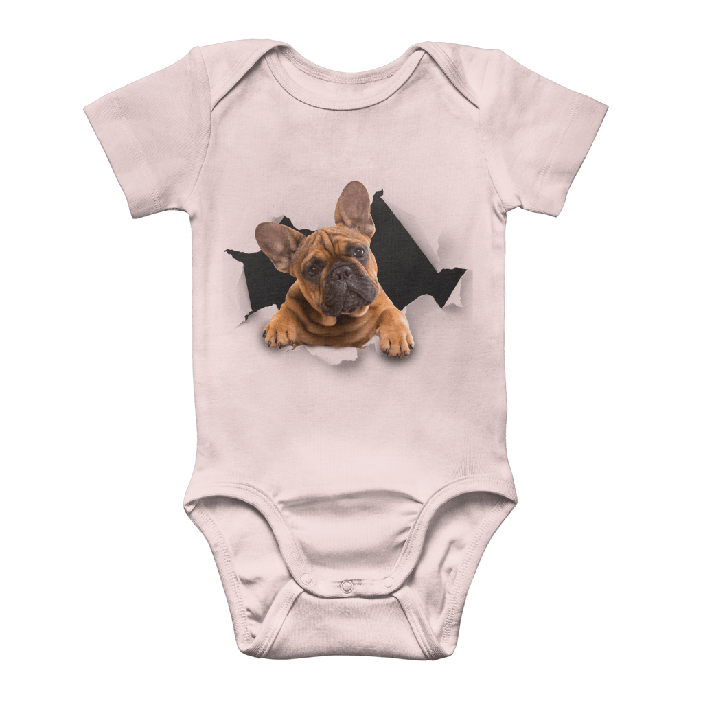 alloverprint.it Apparel Light Pink / 0 to 3 Months Peeking Frenchie Classic Baby Onesie Bodysuit
