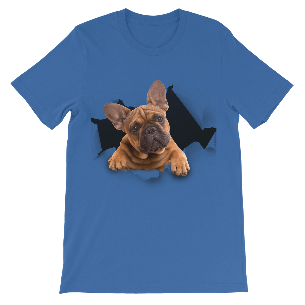 alloverprint.it Apparel Royal Blue / 3 to 4 Years Peeking Frenchie Classic Kids T-Shirt