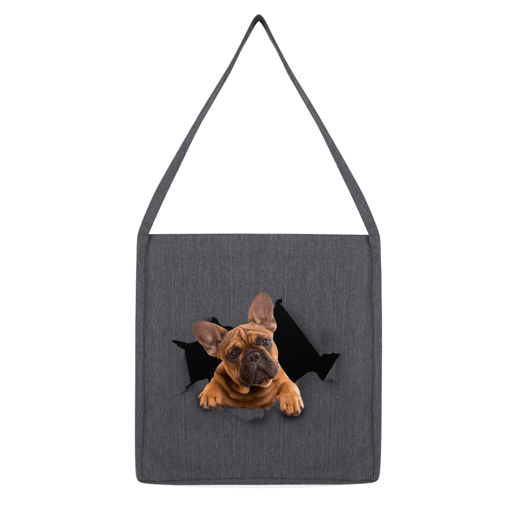 alloverprint.it Accessories Melange Dark Heather Peeking Frenchie Classic Tote Bag