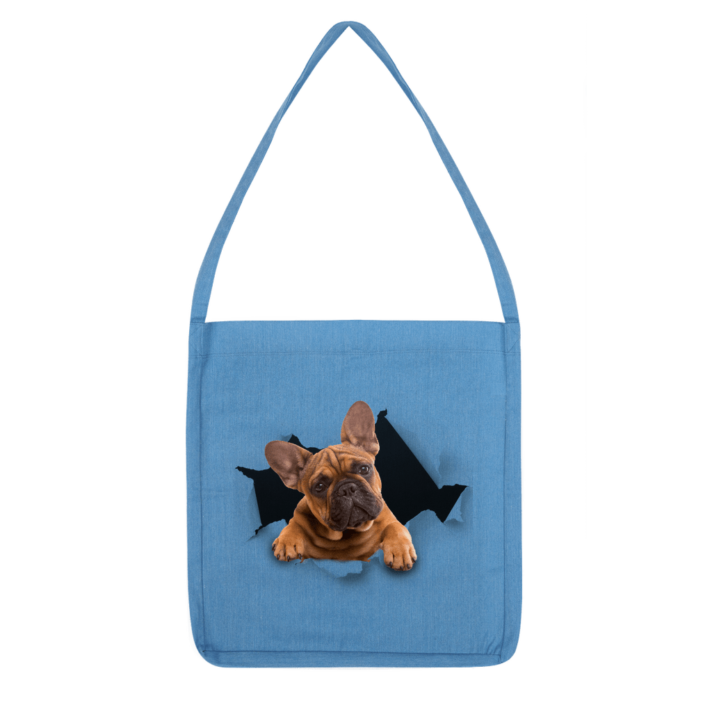alloverprint.it Accessories Melange Mid Blue Peeking Frenchie Classic Tote Bag