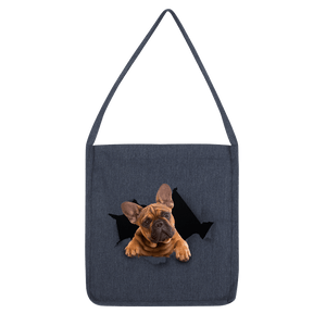 alloverprint.it Accessories Melange Navy Peeking Frenchie Classic Tote Bag
