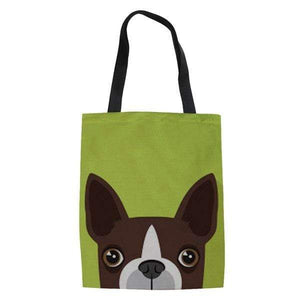 Frenchie World Shop lime green / 42x34x1.5CM Peeking Frenchie Linen Tote Bag