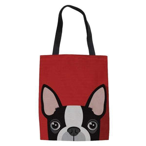 Frenchie World Shop red / 42x34x1.5CM Peeking Frenchie Linen Tote Bag