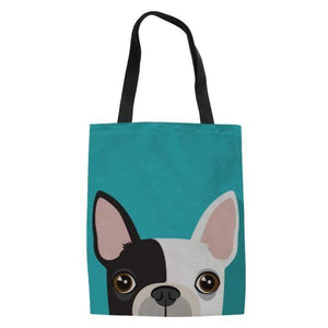 Frenchie World Shop turquoise / 42x34x1.5CM Peeking Frenchie Linen Tote Bag
