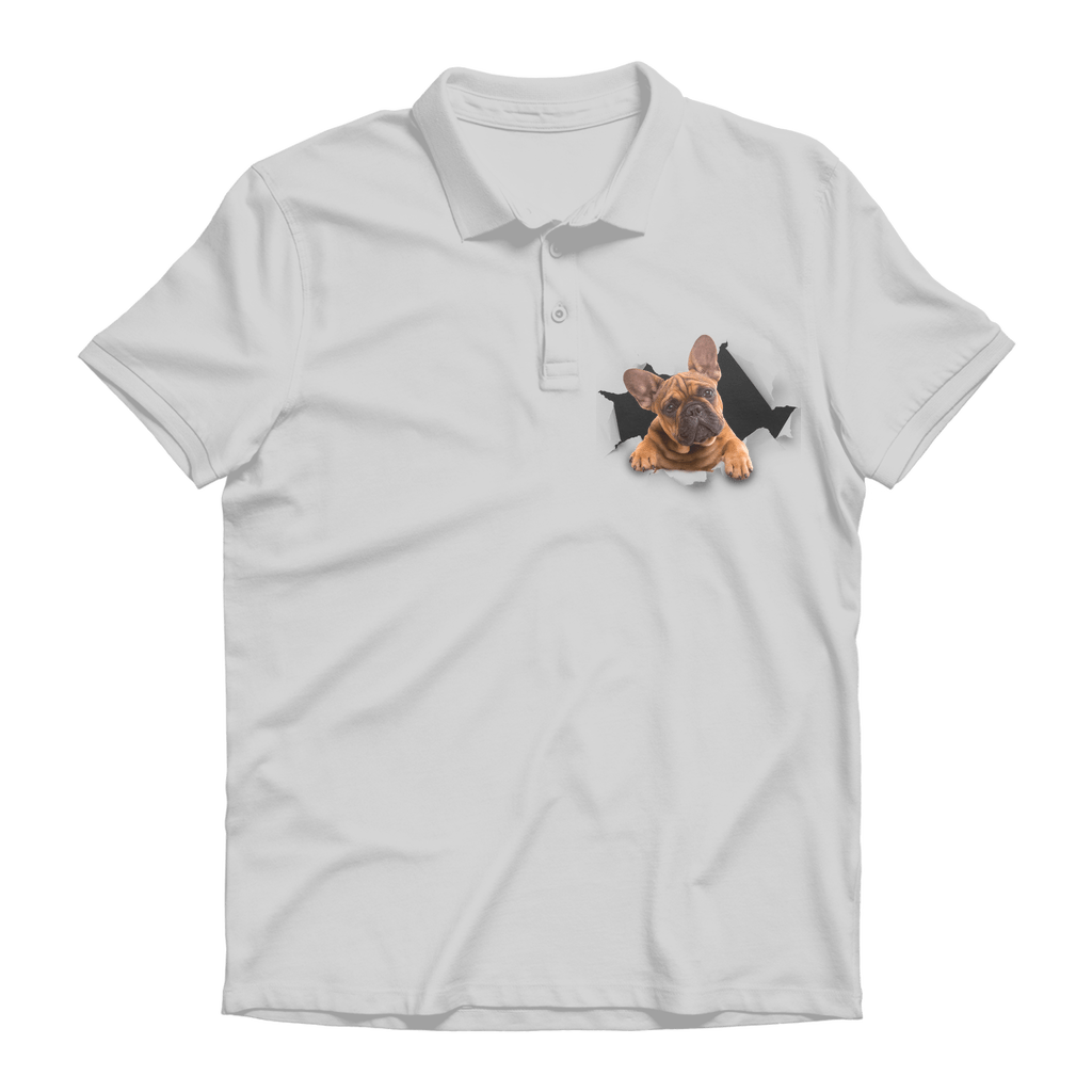 alloverprint.it Apparel Ash / Unisex / S Peeking Frenchie Premium Adult Polo Shirt
